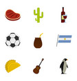 typical argentina icons set cartoon style vector image vector image