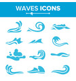 wave icons ocean water design element vector image
