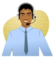 Young African American man a call operator eps10 vector image