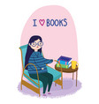 young woman sitting in chair and table with books vector image