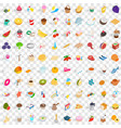 100 tea time icons set isometric 3d style vector image vector image
