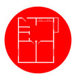 Apartment house floor plans white icon in