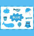 blue educational worksheet for kids learning vector image
