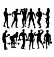 bodybuilder activity silhouettes vector image vector image