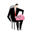 businessman fondling brain boss and human brains vector image