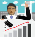 Businessman hold chart with up oil price vector image vector image