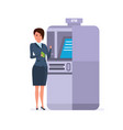 businesswoman stands next to terminal vector image vector image