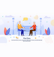 cartoon senior men playing chess in park poster vector image vector image