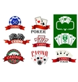 Casino and poker emblems or badges vector image vector image
