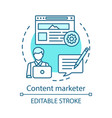 content marketer blue concept icon creating vector image vector image