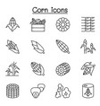 corn icon set in thin line style vector image