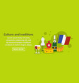 culture and traditions france banner horizontal vector image vector image