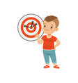 cute boy playing darts kids physical activity vector image