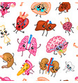 cute organs seamless pattern happy human set of vector image vector image