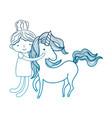 degraded outline happy boy hugging beauty unicorn vector image vector image
