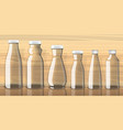 empty juice bottles on transparent background vector image vector image
