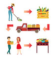 farm products live circle concept vector image vector image