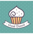 Flat cupcake icon vector image vector image