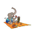 funny and cute elephant having a picnic vector image