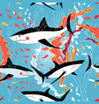 graphic pattern swimming sharks vector image vector image