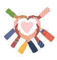 group people putting hands shape heart love vector image