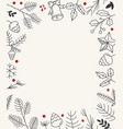 hand drawn christmas greeting card template card vector image