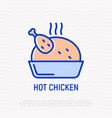 hot chicken thin line icon vector image