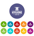 hygiene morning icons set color vector image vector image