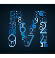 Letter M font from numbers vector image vector image