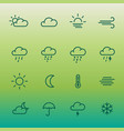 lines weather forcast icon set on green gradient vector image vector image