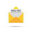 miss you written inside an envelope letter vector image