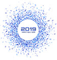 new year 2019 card christmas blue circle frame vector image vector image