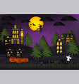paper art of halloween background with witch vector image vector image
