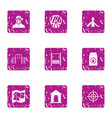 place of war icons set grunge style vector image vector image