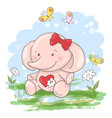 postcard cute little elephant flowers vector image