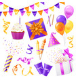 realistic party icon set vector image vector image