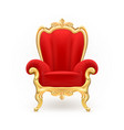 realistic royal throne luxurious red chair vector image vector image