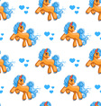 Seamless pattern with cute cartoon little horse vector image vector image
