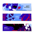 Set of abstract artistic painted horizontal