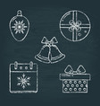 set of christmas icons sketches on chalkboard vector image