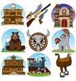 set of color on the theme of the wild west saloon vector image vector image