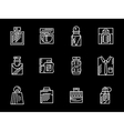 Set of male fragrances white line icons vector image