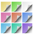 Set of page curls with shadow of blank color sheet vector image vector image