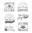 Set of vintage food typographic quotes vector image vector image
