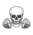 skull with barbell in teeth design element