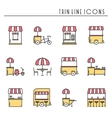 Street food retail thin line icons set Food truck vector image vector image