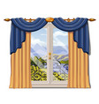 the window overlooking the sunny meadow of green vector image vector image