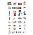 travel to england icons set for your design vector image