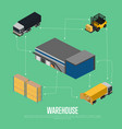 warehouse isometric concept with storage building vector image vector image