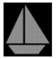 white halftone yacht icon vector image